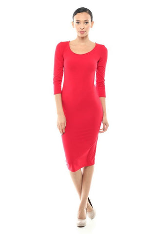 Casual Dress Dress Midi Round Neck Red