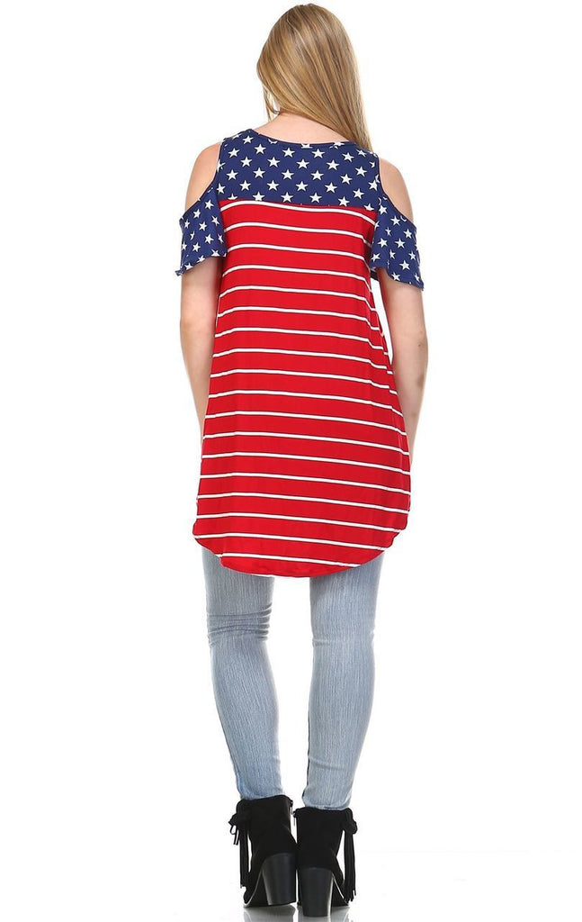 Patriotic Shirt Open Shoulder Navy Star Red Stripes 5