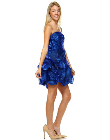 Homecoming Ruched Cocktail Dress Bubble Hem Royal Blue