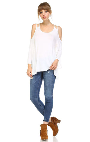 Cold Shoulder Top 3/4 Sleeves 2 String Strap Soft White