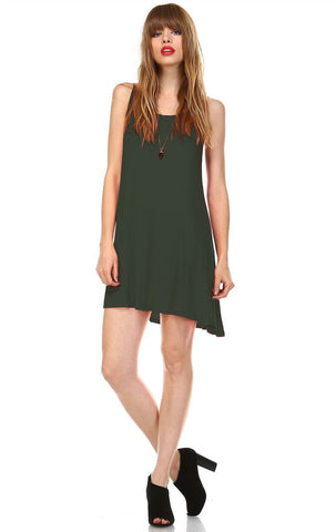 Strappy Back Dress Sleeveless and 3/4 Sleeve Olive Green