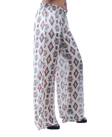 Foldover Palazzo Pants Chiffon Fabric Indian Shield Beige