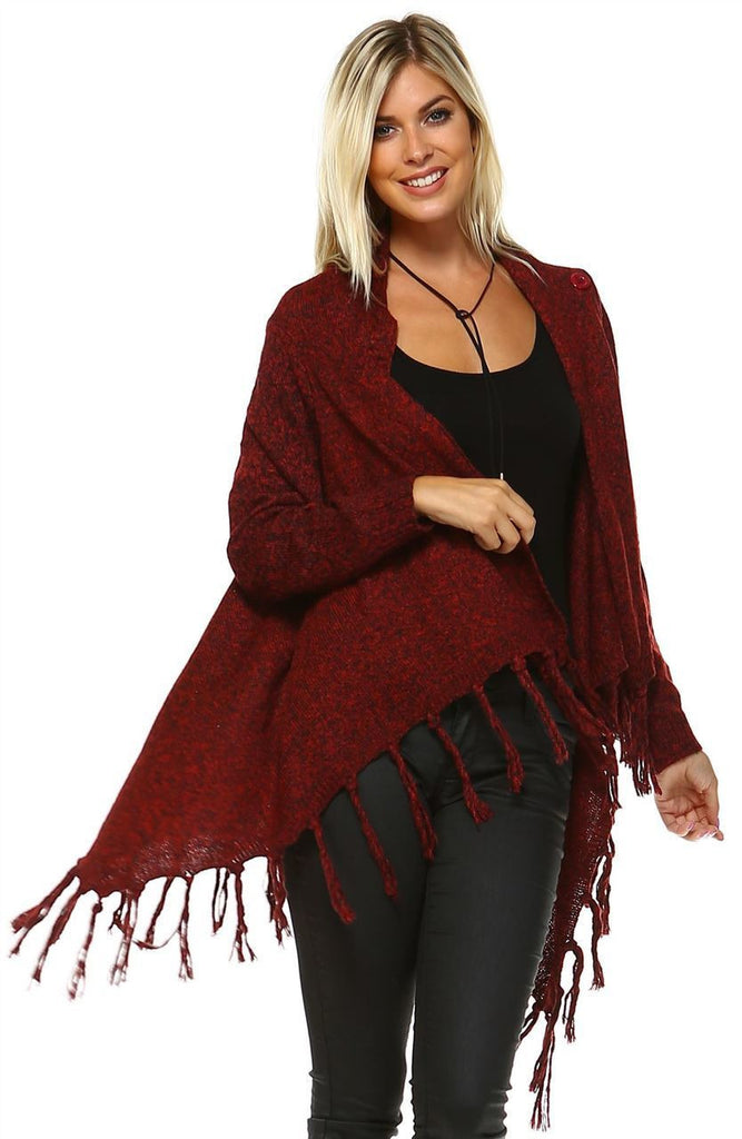 Cowl Aztec Cardigan Tribal Sweater Ponchos Burgundy Wine