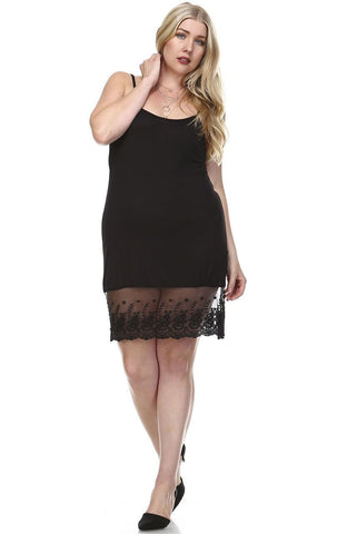 Plus Size Full Slip Dress with Lace Details Black