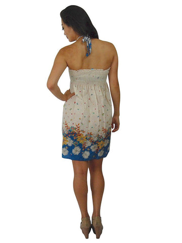 White Light Floral Blue Elastic Band Top Sundress