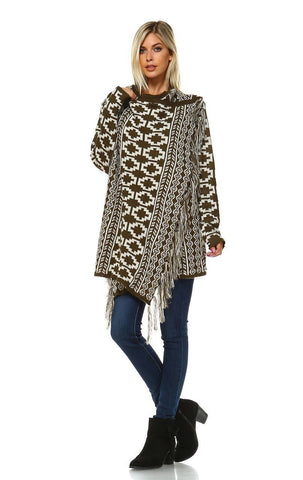 Cowl Aztec Cardigan Tribal Sweater Ponchos Olive White