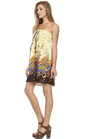 Yellow Blue Brown Butterfly Elastic Band Top Sundress