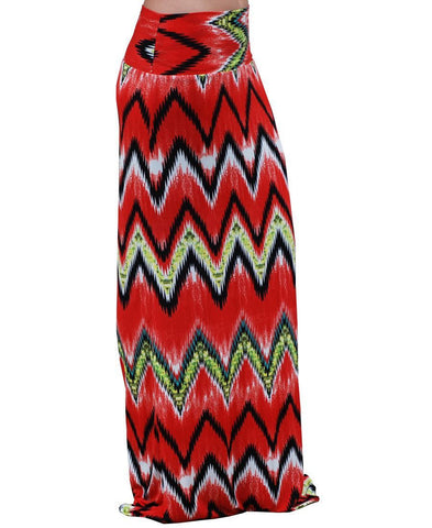 Maxi Skirt Red Green Black Chevron Haze