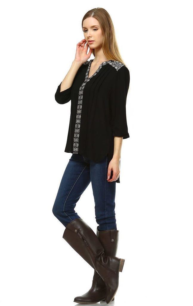 Embroidered Shirt with Long Sleeves Floral Lace Black