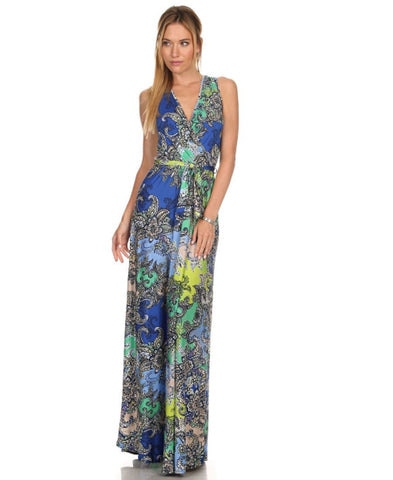 Sleeveless Paris Maxi Dress Paisley Ocean Blue