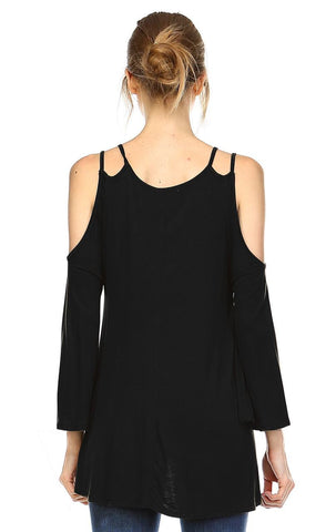 Cold Shoulder Top 3/4 Sleeves 2 String Strap Black