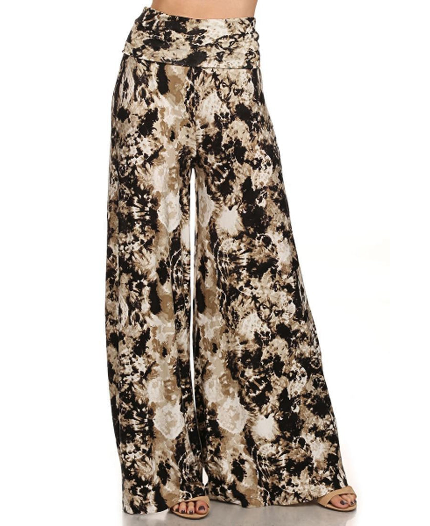Foldover Palazzo Pants Brown White Tie Dye Lion