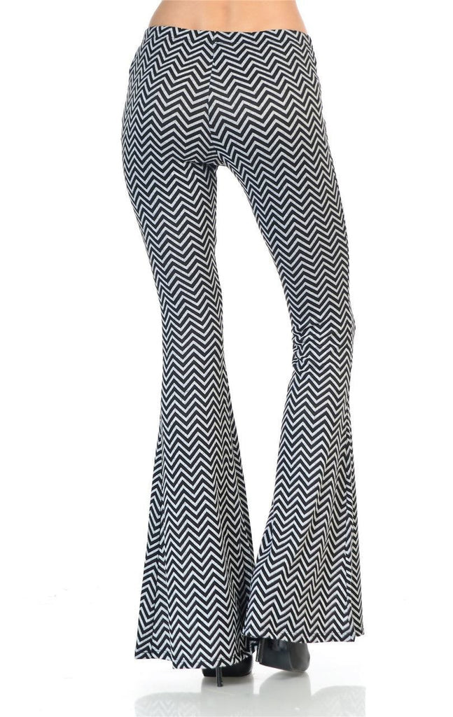 Bell Bottoms Yoga Pants Infinite Chevron Black Gray