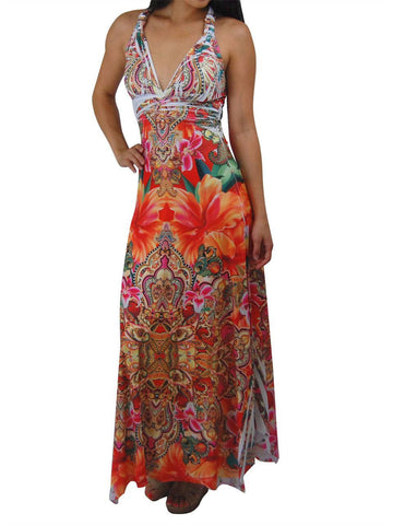Premium Sleeveless Sublimation Maxi Dress Royal Flowers Orange