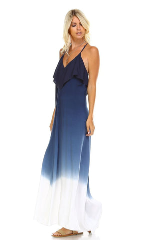 Sleeveless Tie Dye Maxi Dress with Open Back Navy White