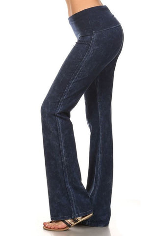 Foldover Straight Leg Denim Colored Yoga Pants Blue Small