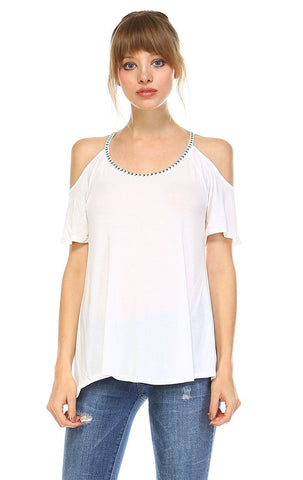 Off the Shoulder Tops with Back Tie and Neck Trimming White