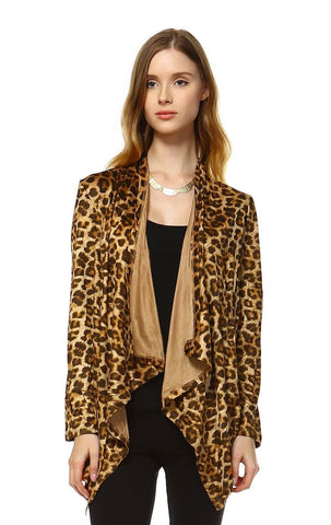 Suede Open Front Flyaway Jacket Cardigan Cheetah Brown