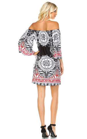 Off Shoulder Tunic Dress Black Red Tropical Paisley