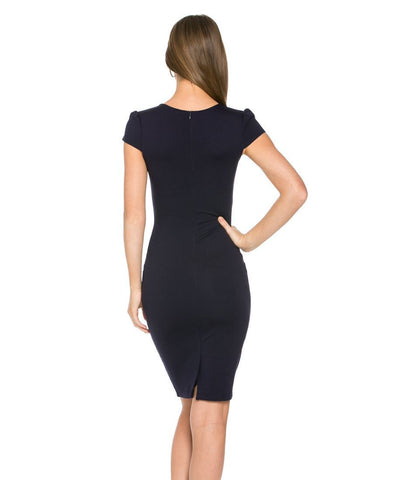 Split Next Front Midi Dress with Pockets Navy