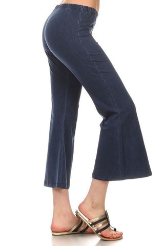 Cropped Capri Pants High Waist Flare Denim Yoga Pants Blue