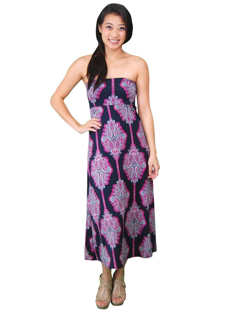 Flourish Black Pink Foldover Maxi Skirt