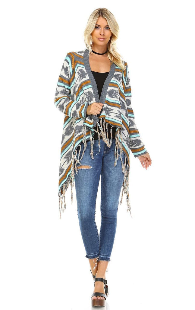 Open Front Oversized Fringe Cardigan with Gray Teal Orange Arrow