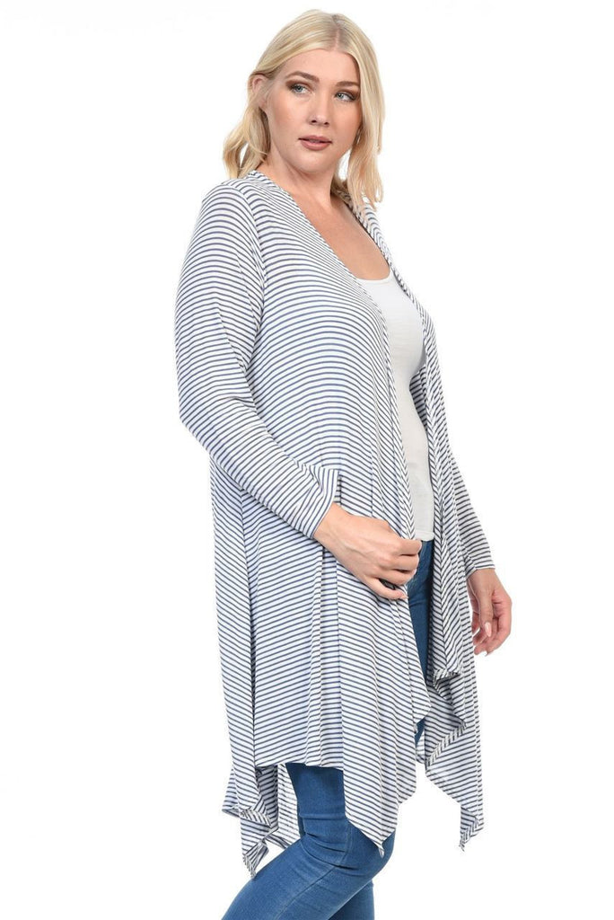 Plus Size Open Drape Flyaway Long Cardigan White Blue