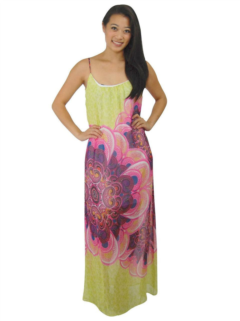 Maxi Dress Sleeveless Chiffon Pale Green Pink