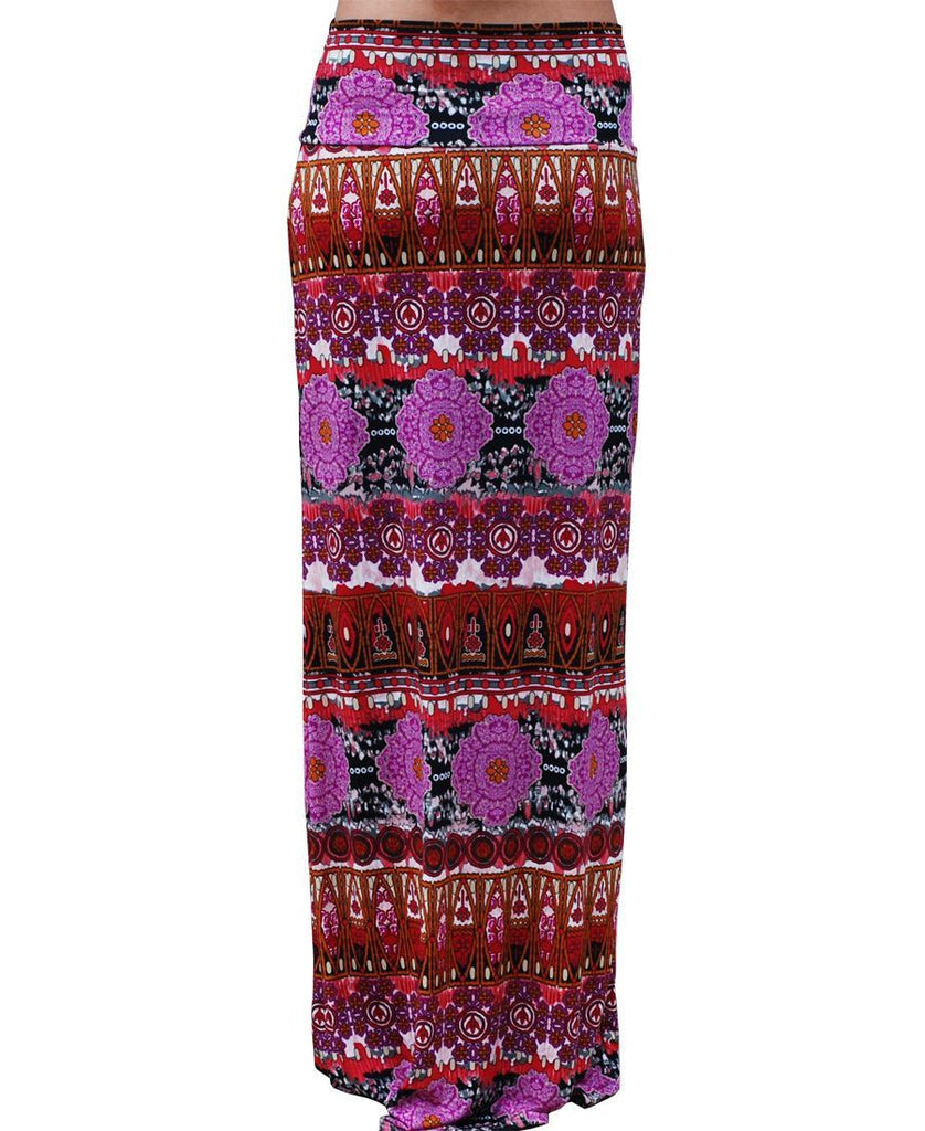 Maxi Skirt Pink Coral Asian Tribal Native