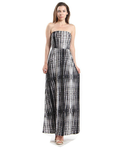 Strapless Tie Dye Maxi Dress Black White Gray Tie Dye
