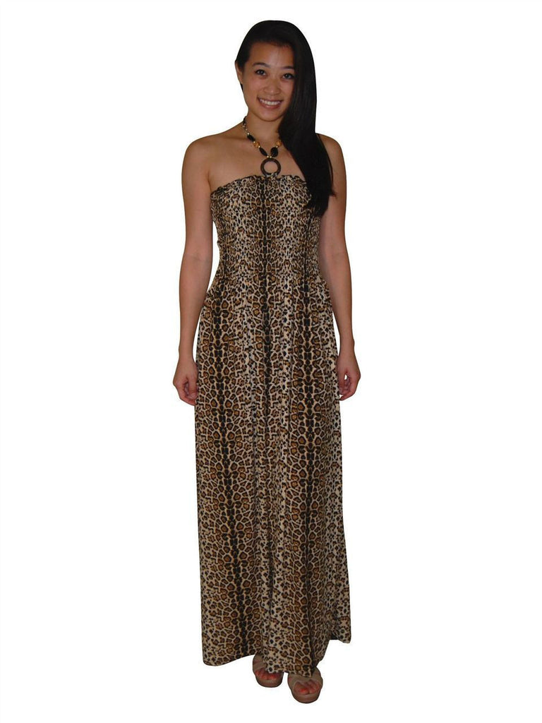 Silky Strapless Dress Cheetah Leopard Brown Tan Black Gold