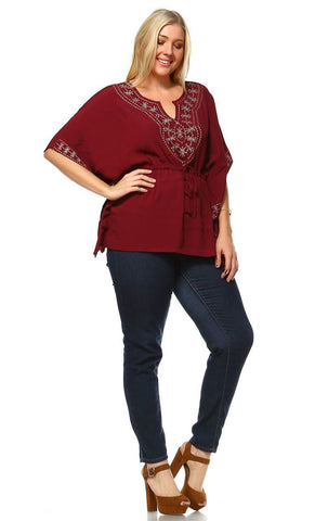 Plus Size Shirt Embroidered Detail String Waist Burgundy