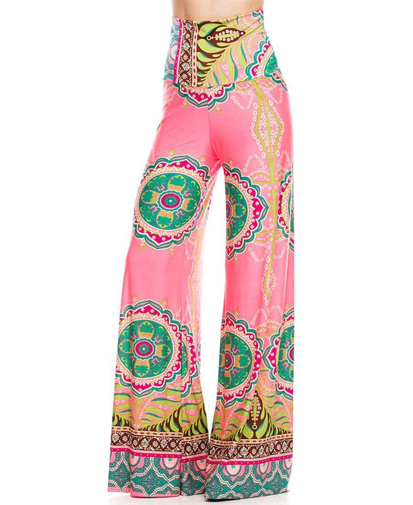 Foldover Palazzo Pants High Waisted Foldover Tropical Pink
