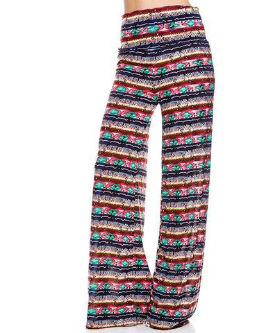 Foldover Palazzo Pants Multi Aztec Striped Navy Pink