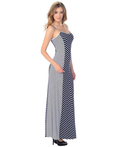 Maxi Dress Sleeveless Striped Navy Chevron