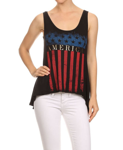 Patriotic Shirt Tee Studded Cross Black