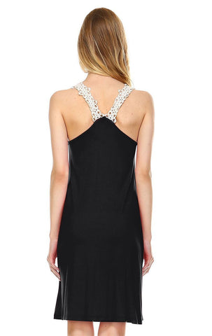 Mini Lace Dress with Crochet Details Black