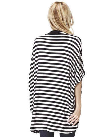 Striped Black White Doleman Open Front Cardigan