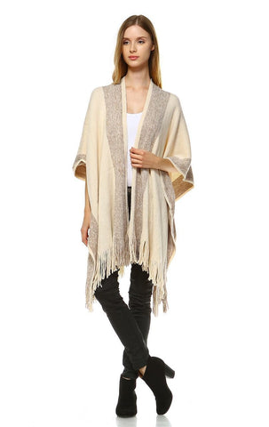 Regular and Plus Size Aztec Tribal Poncho Capes Wrap Beige