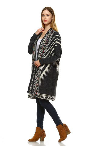 Aztec Cardigan Tribal Sweater Indian Leopard Charcoal
