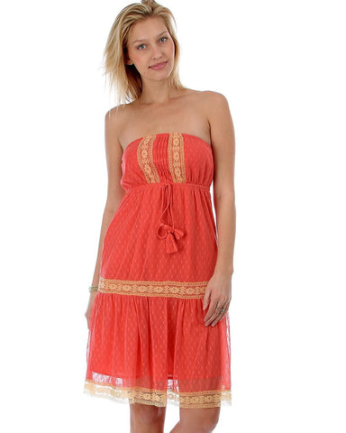 Coral Polka Dot Mesh Strapless Dress with Crochet Detail and Tassels