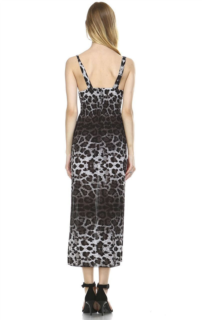 Maxi Dress Sleeveless Gray Leopard Skin
