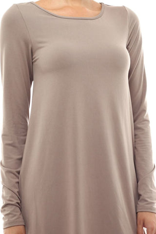 Tunic Top Long Sleeve Trapeze Dress Taupe