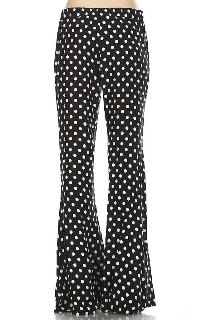 Foldover Palazzo Pants High Waisted Black Polka Dot