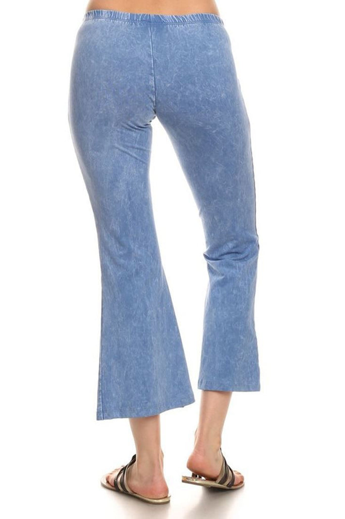 Cropped Pants High Waist Flare Denim Lavender Blue