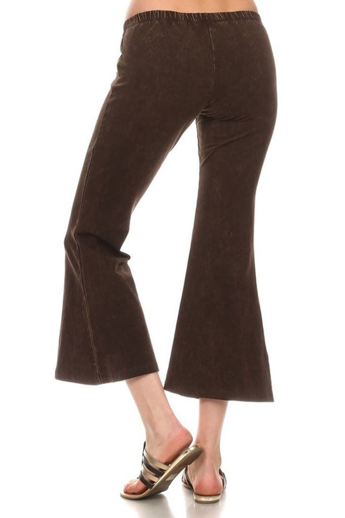 Cropped Capri High Waist Flare Denim Yoga Pants Brown
