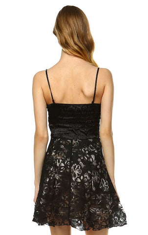 Cocktail Dress Strapless Lace Floral Black Gray S