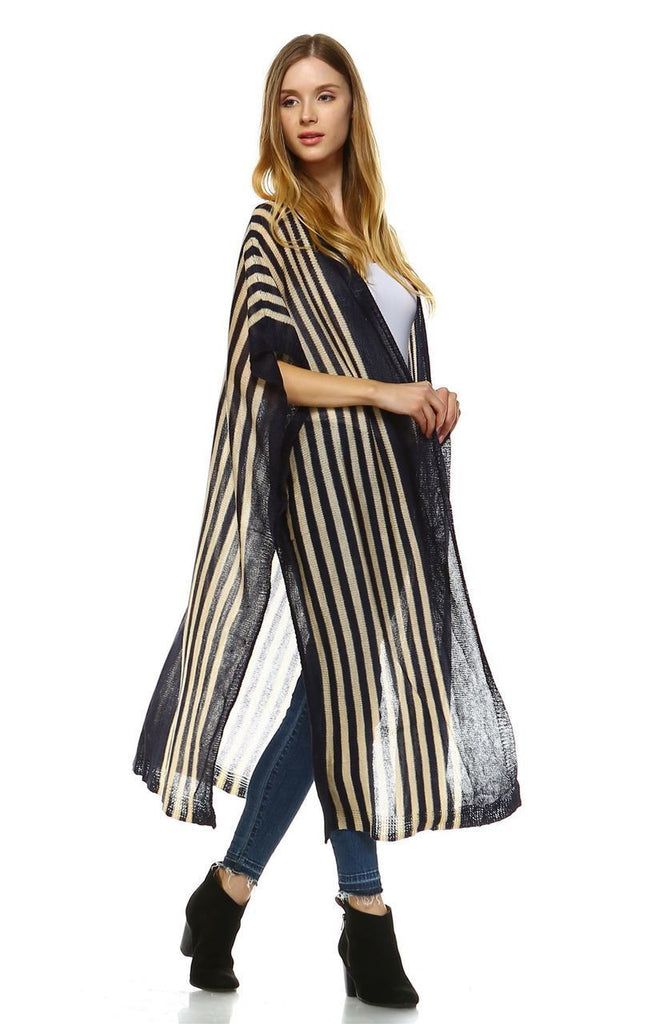 Plus Size Aztec Tribal Poncho Capes Wrap Cardigans Navy 1