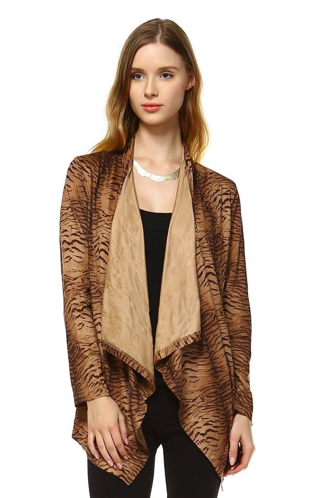 Suede Open Front Flyaway Jacket Cardigan Tiger Brown
